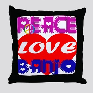 Peace Love Banjo Throw Pillow